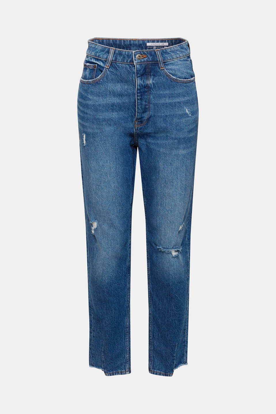 Vintage-finish jeans with high-low hems, BLUE MEDIUM WASH, detail image number 7