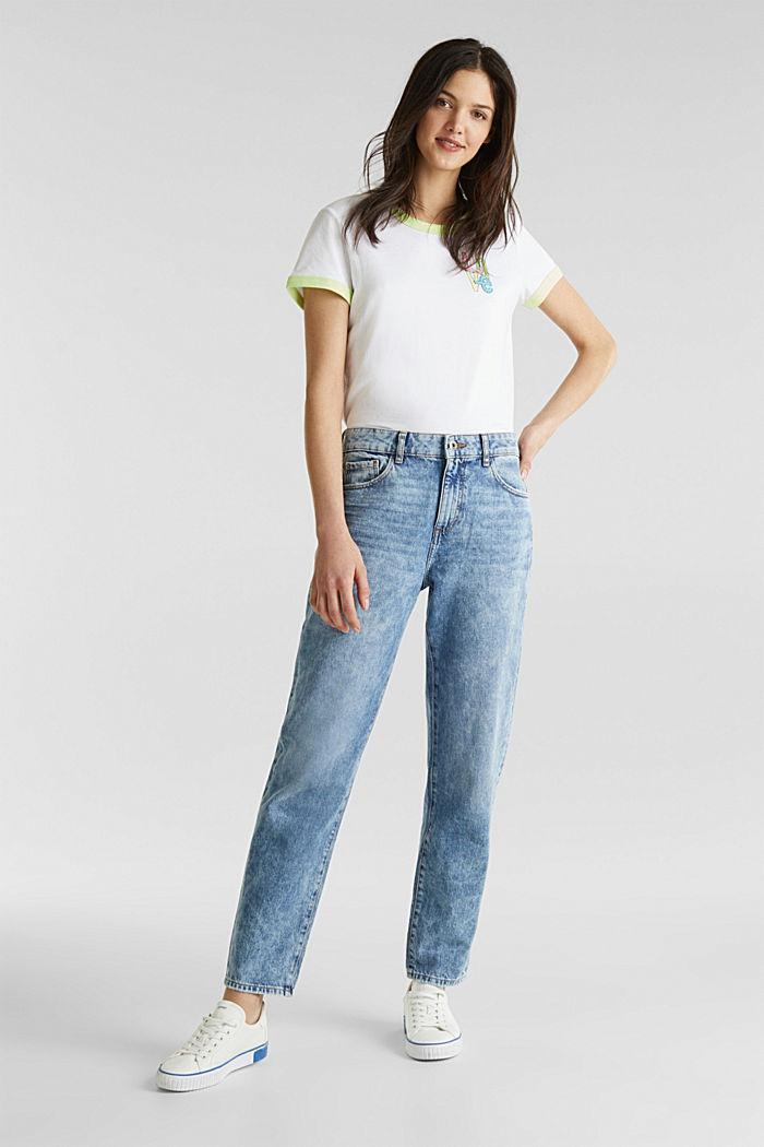Knöchellange Girlfriend-Jeans, 100% Baumwolle, BLUE BLEACHED, detail image number 0