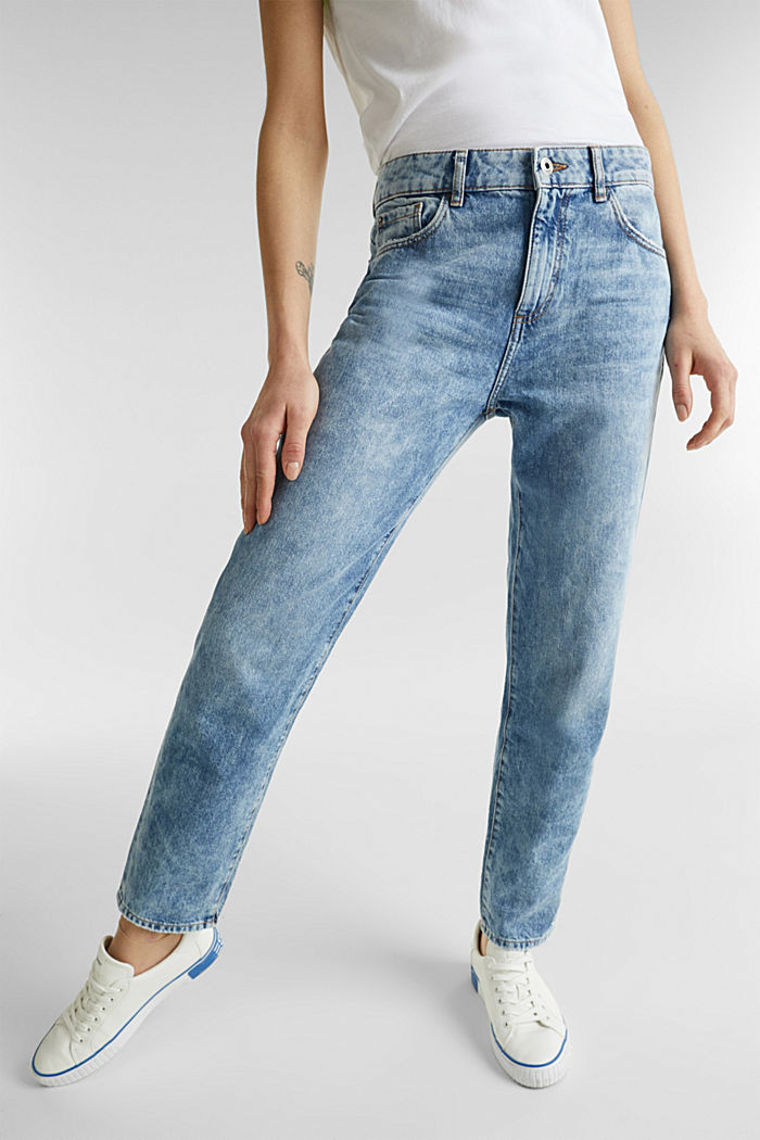 Knöchellange Girlfriend-Jeans, 100% Baumwolle, BLUE BLEACHED, detail image number 6