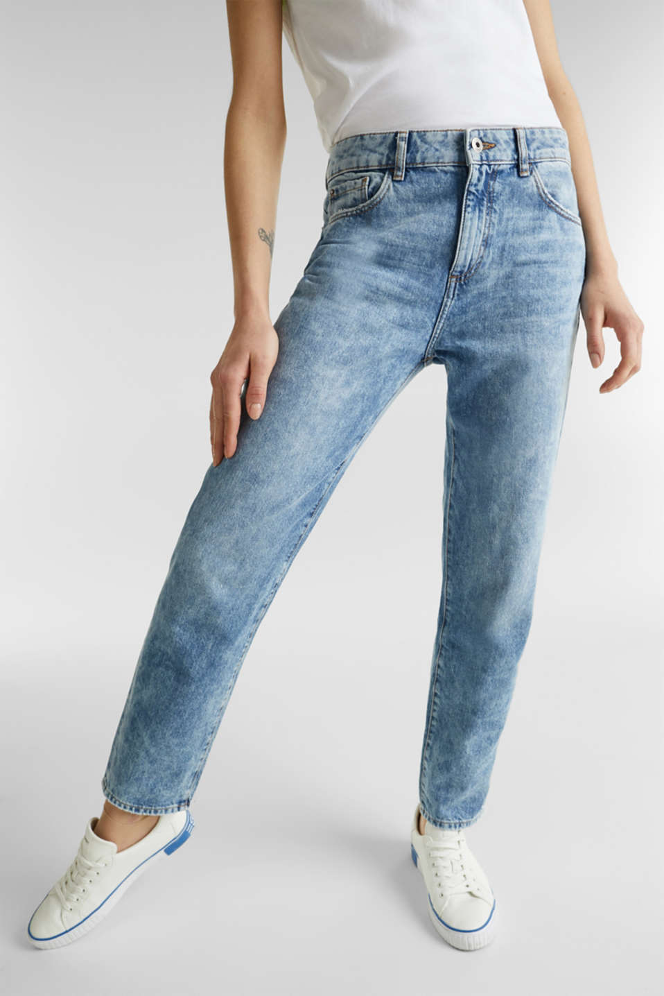 Ankle-length girlfriend jeans, 100% cotton, BLUE BLEACHED, detail image number 6