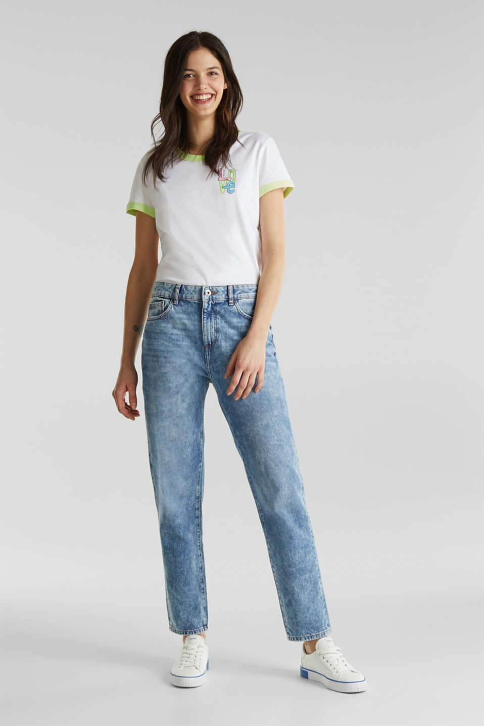 Ankle-length girlfriend jeans, 100% cotton, BLUE BLEACHED, detail image number 1