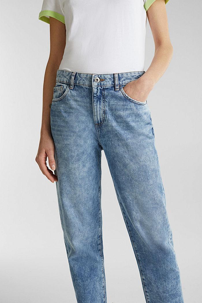 Knöchellange Girlfriend-Jeans, 100% Baumwolle, BLUE BLEACHED, detail image number 2