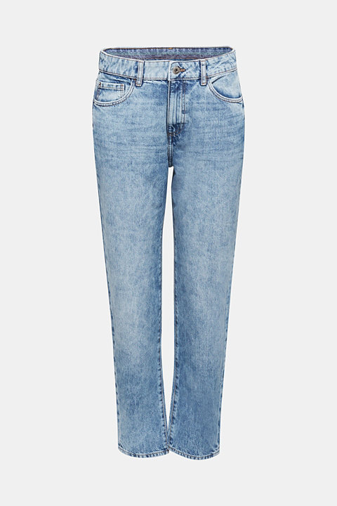 Ankle-length girlfriend jeans, 100% cotton