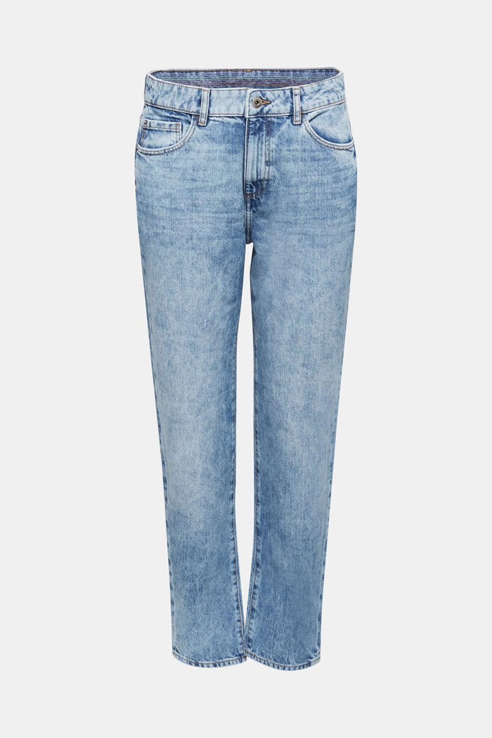 Ankle-length girlfriend jeans, 100% cotton, BLUE BLEACHED, detail image number 7