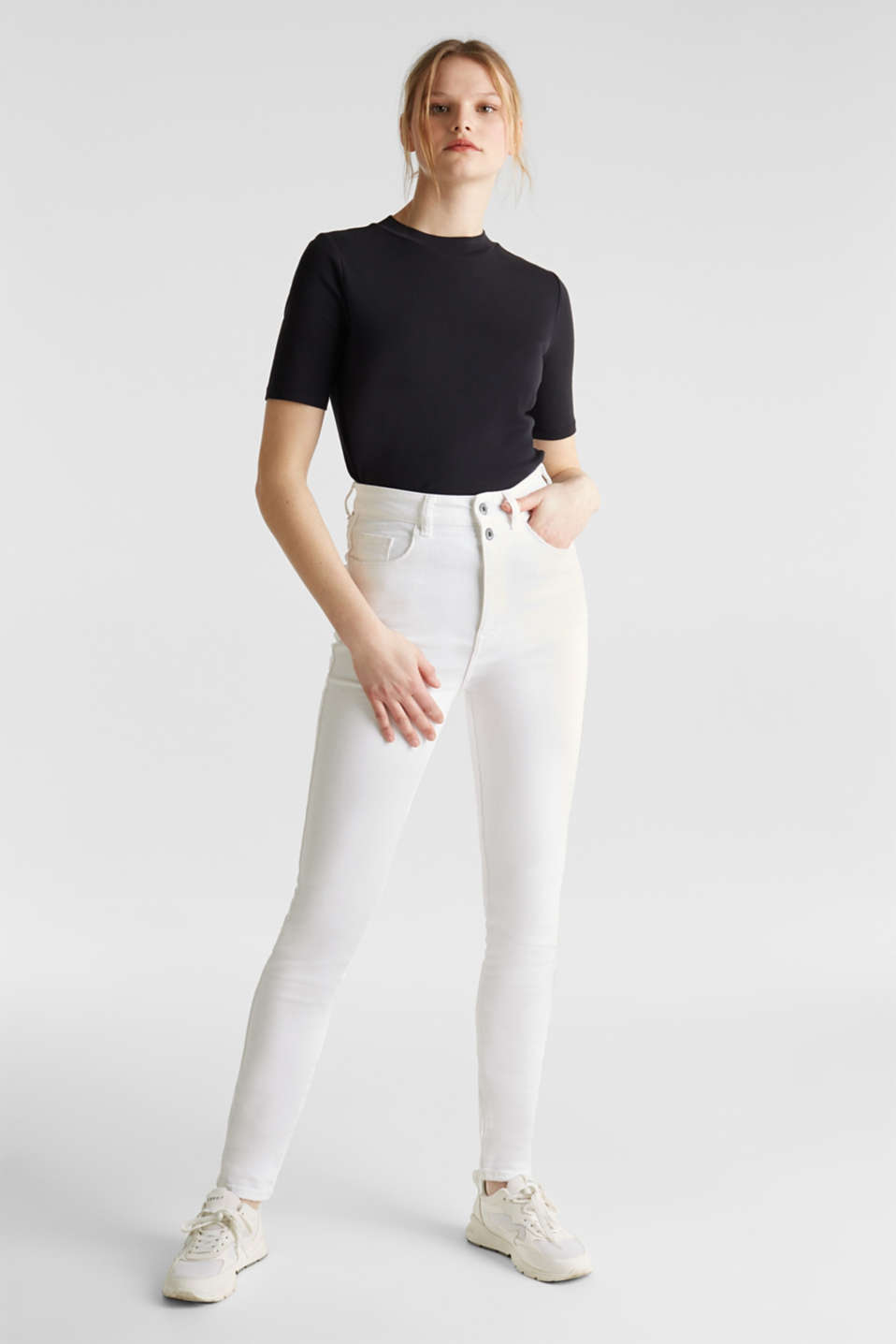 High-waisted jeans with two buttons, WHITE, detail image number 0