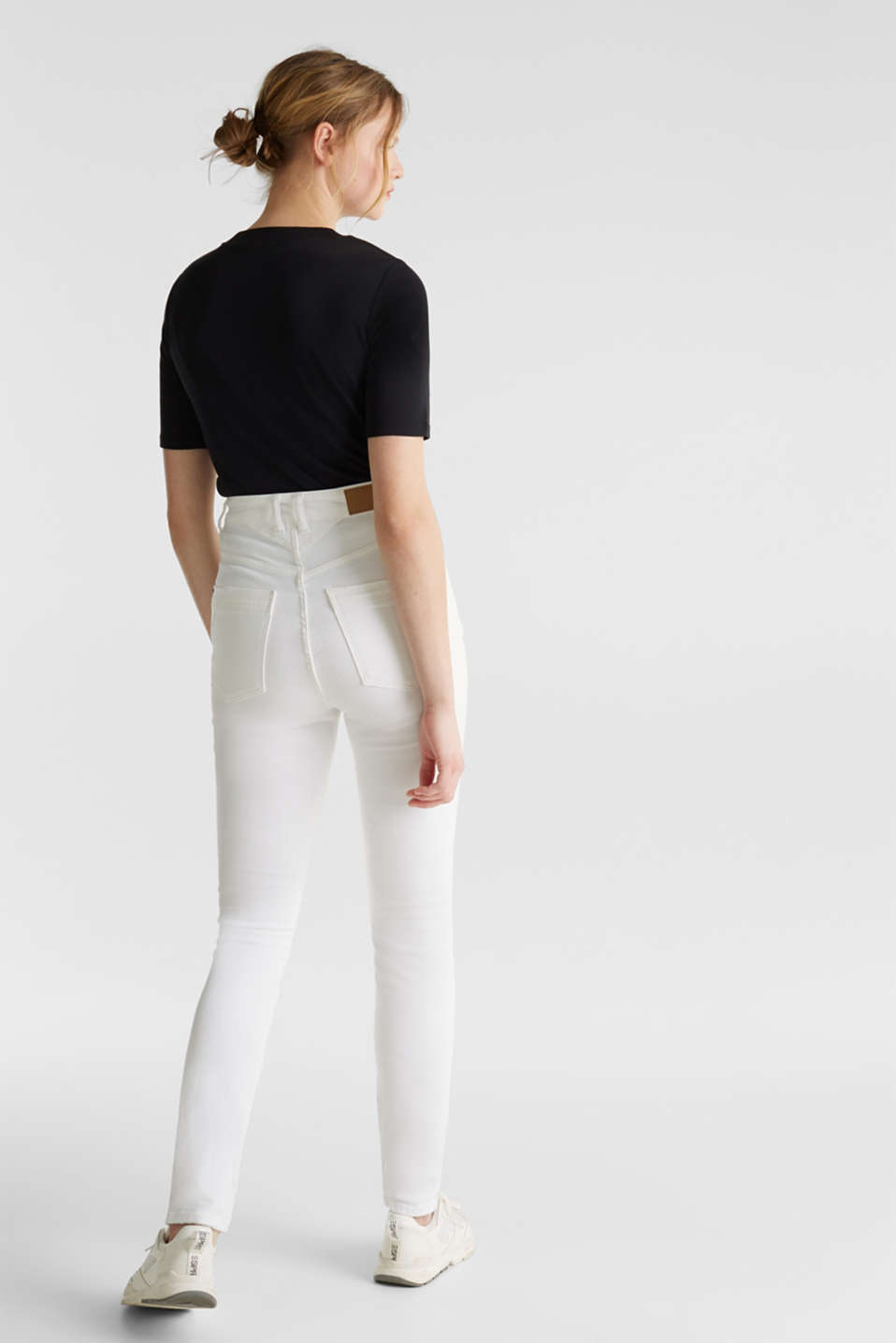 High-waisted jeans with two buttons, WHITE, detail image number 3