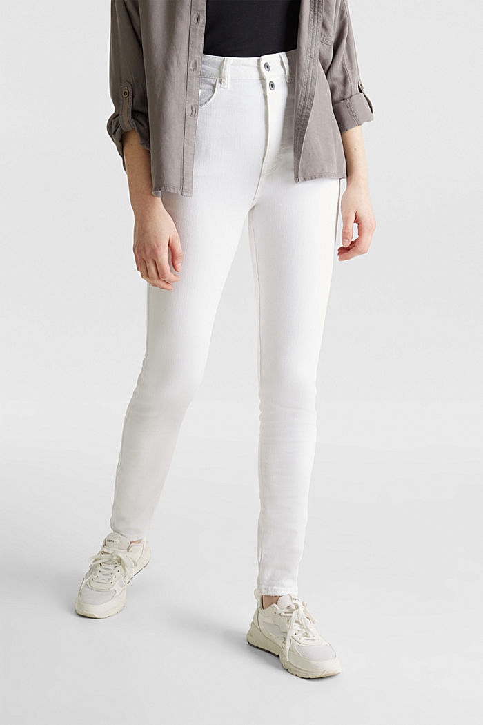 High-waisted jeans with two buttons, WHITE, detail image number 6