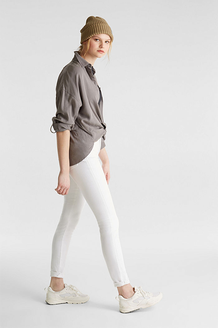 High-waisted jeans with two buttons, WHITE, detail image number 1