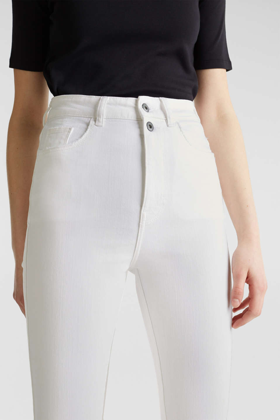 High-waisted jeans with two buttons, WHITE, detail image number 2