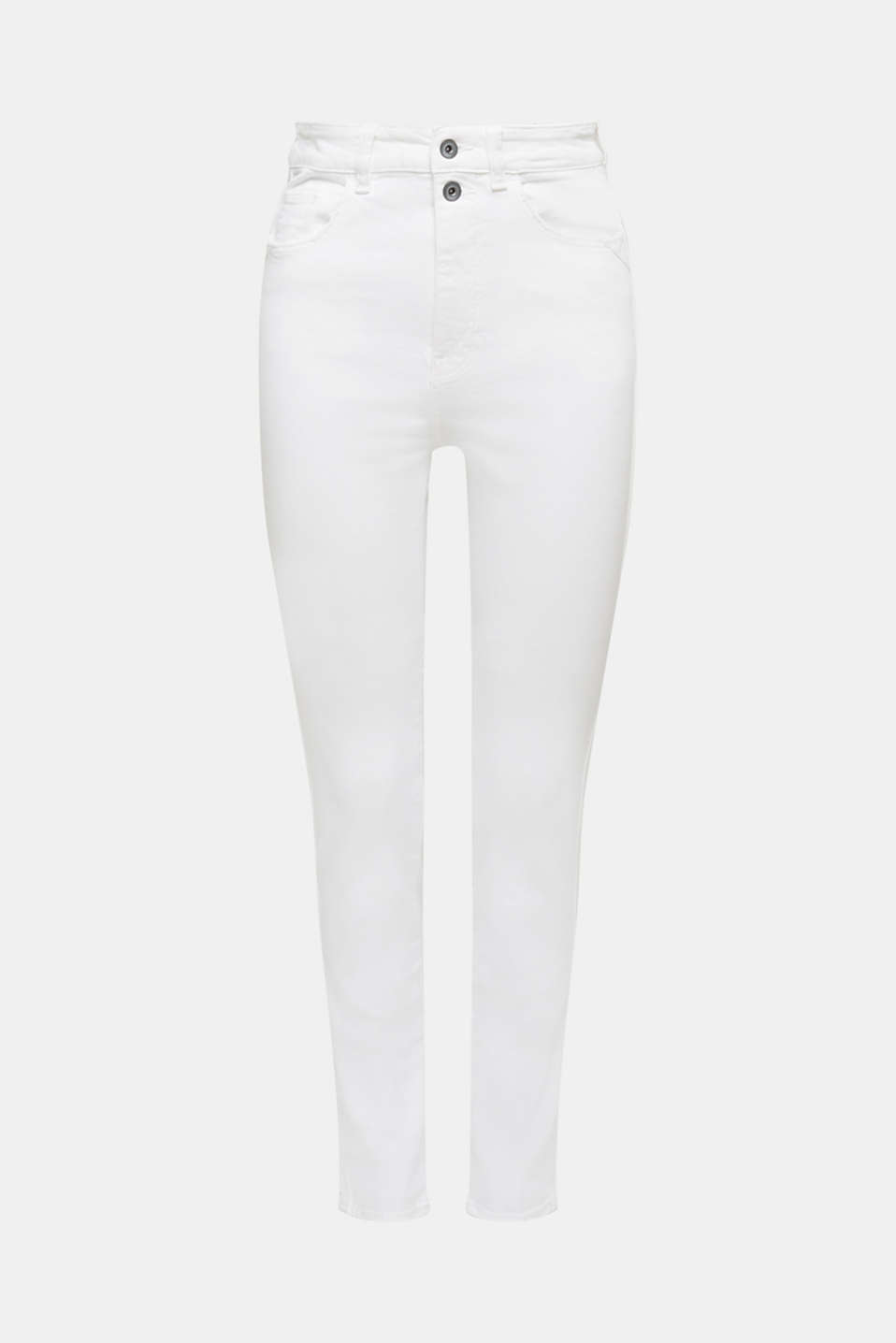High-waisted jeans with two buttons, WHITE, detail image number 7