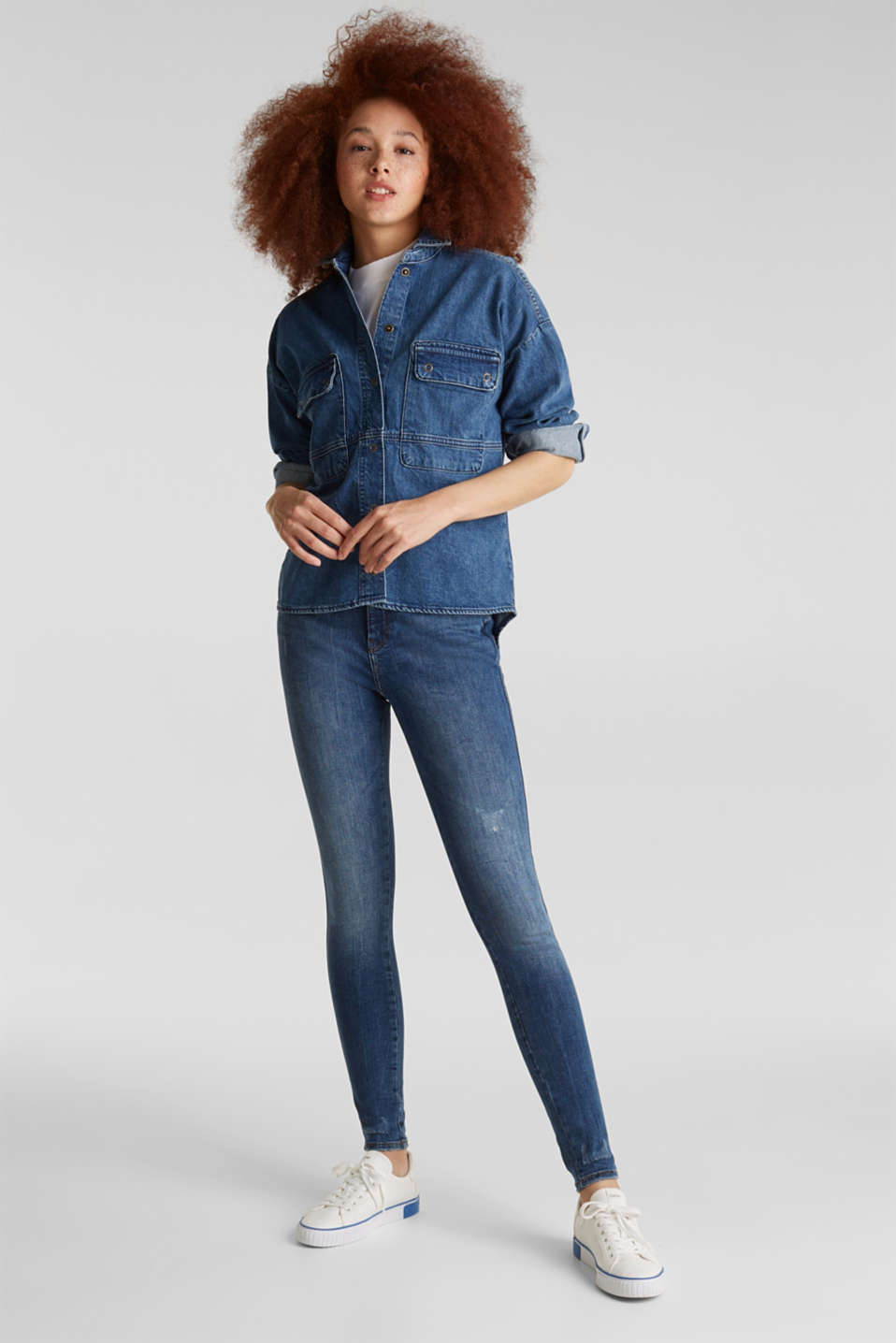 Double button jeans, BLUE MEDIUM WASH, detail image number 1