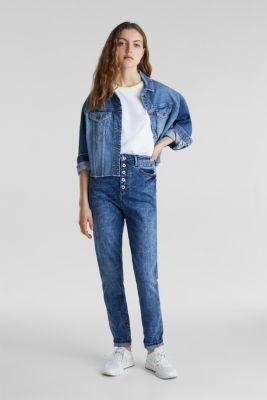 Worn-wash jeans with a button fly, BLUE DARK WASH, detail