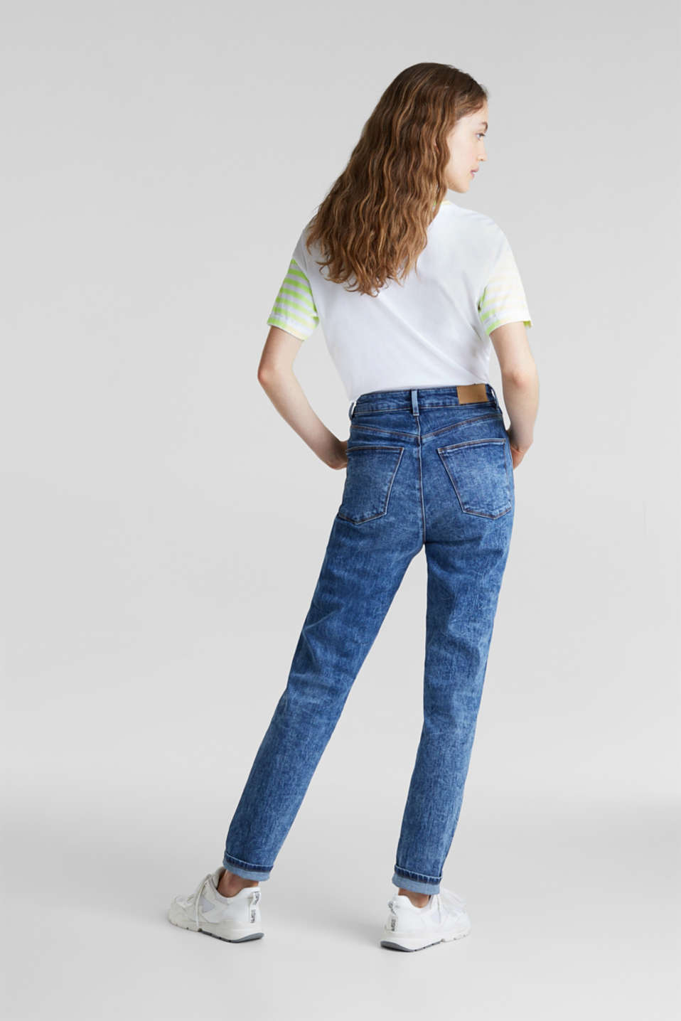 Acid-washed jeans with a button fly, BLUE DARK WASH, detail image number 2