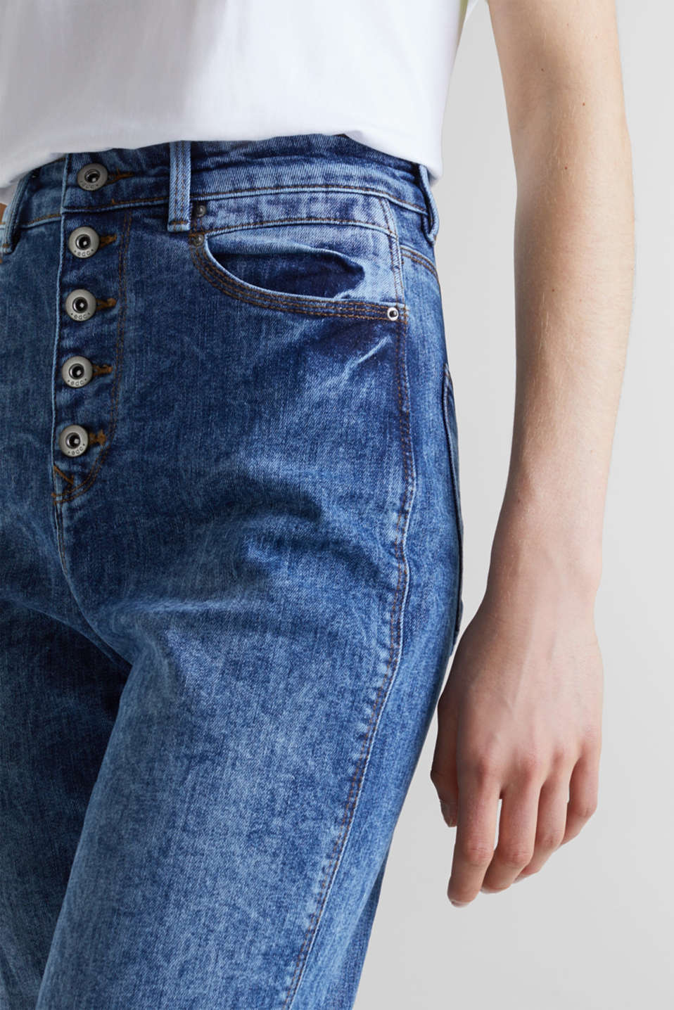 Acid-washed jeans with a button fly, BLUE DARK WASH, detail image number 1