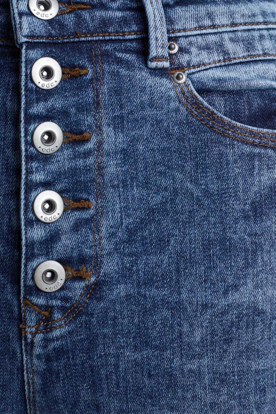 Acid-washed jeans with a button fly, BLUE DARK WASH, detail image number 3