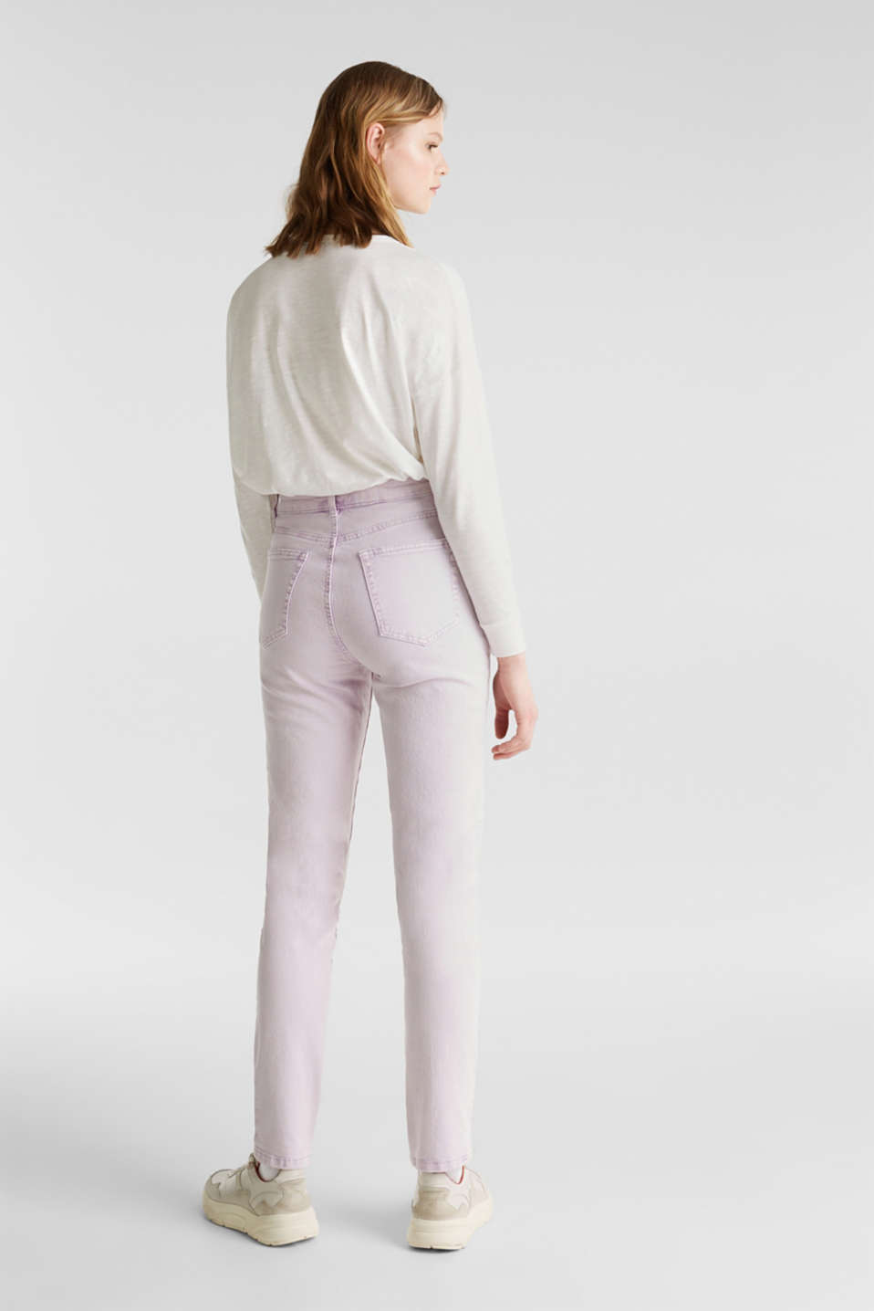 High-rise vintage wash trousers, LILAC, detail image number 3