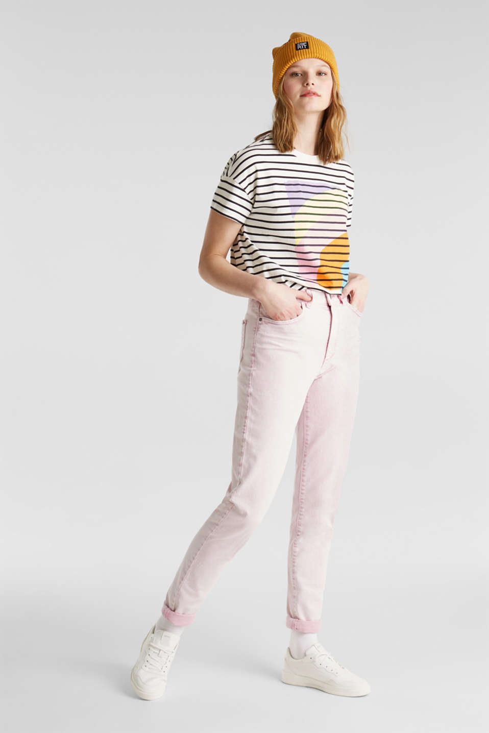 High-rise vintage wash trousers, BLUSH, detail image number 0