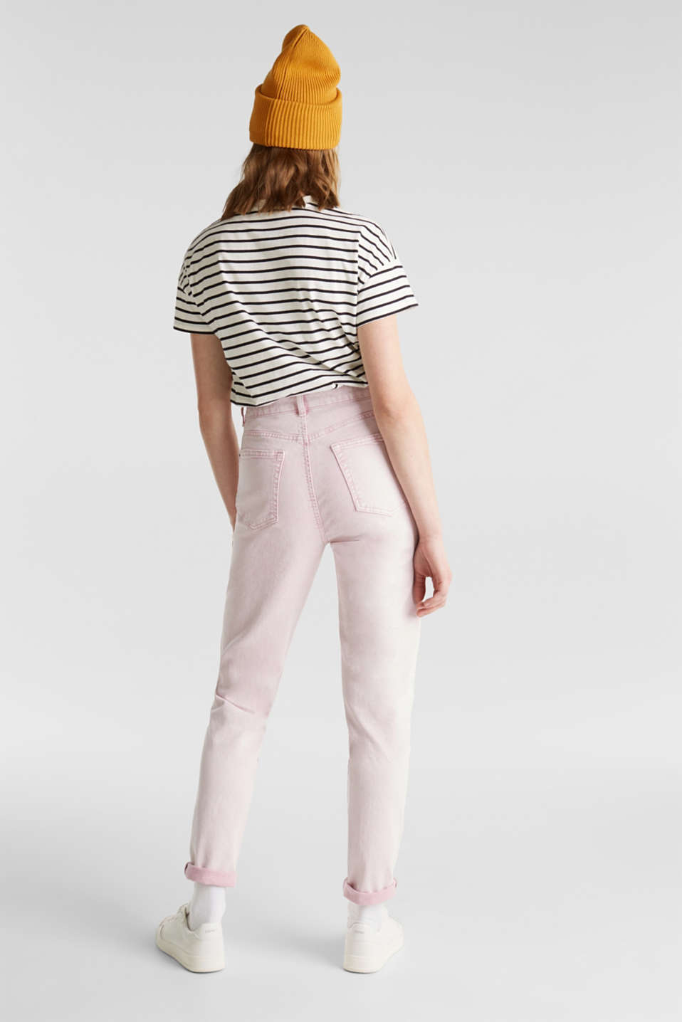 High-rise vintage wash trousers, BLUSH, detail image number 3
