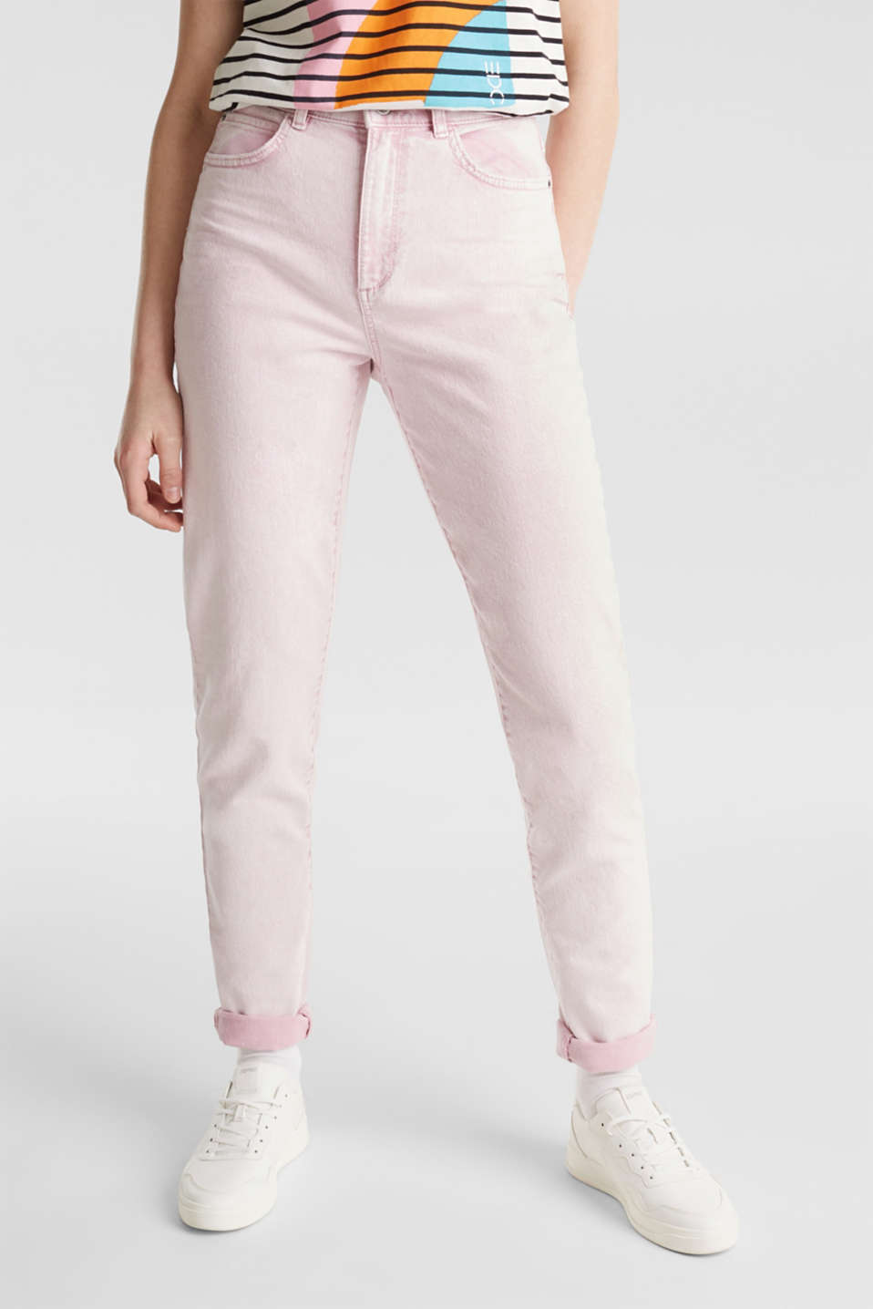 High-rise vintage wash trousers, BLUSH, detail image number 6