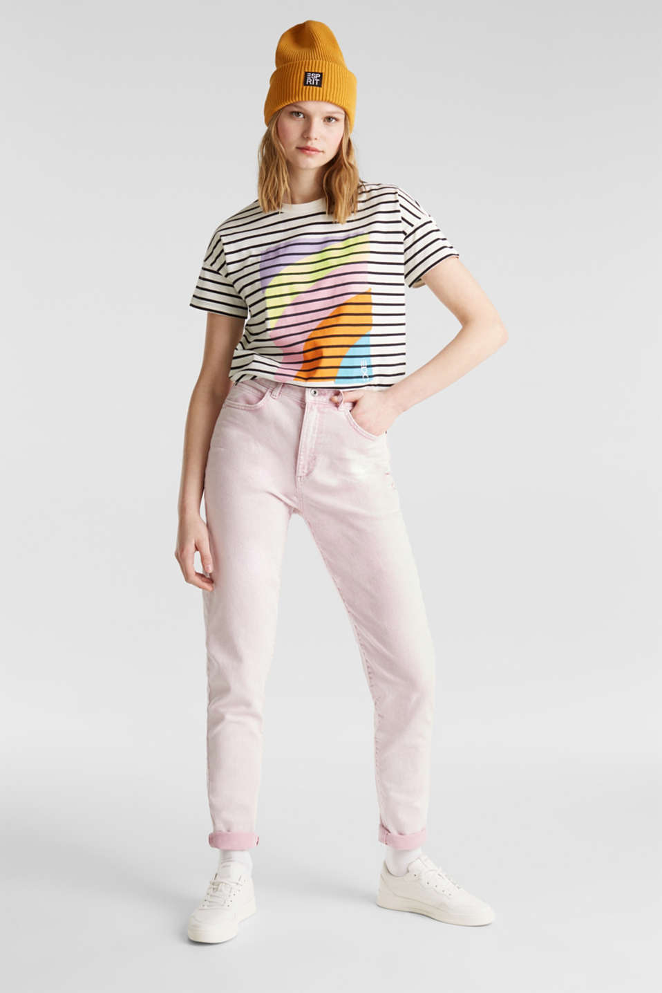 High-rise vintage wash trousers, BLUSH, detail image number 1