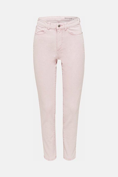 High-rise acid wash trousers