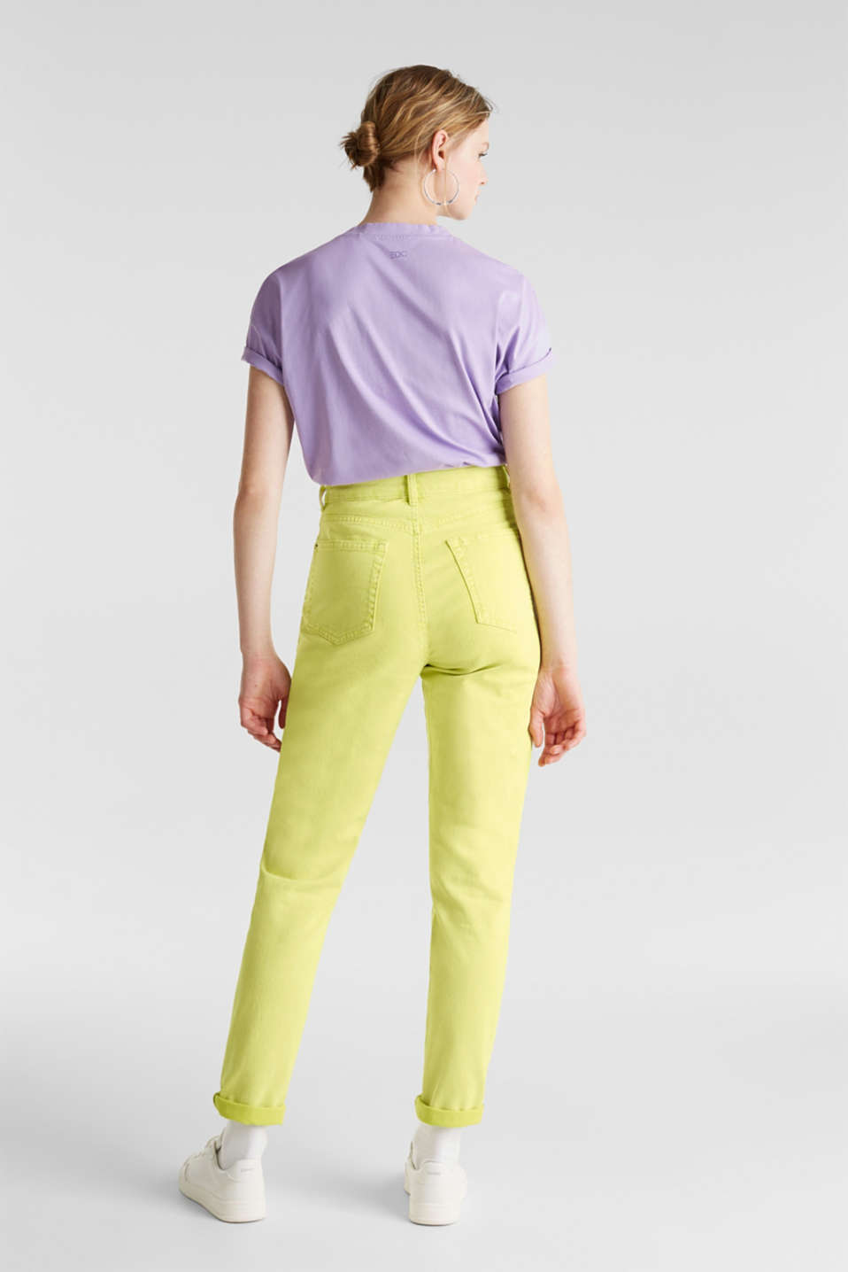 High-rise vintage wash trousers, LIME YELLOW, detail image number 3