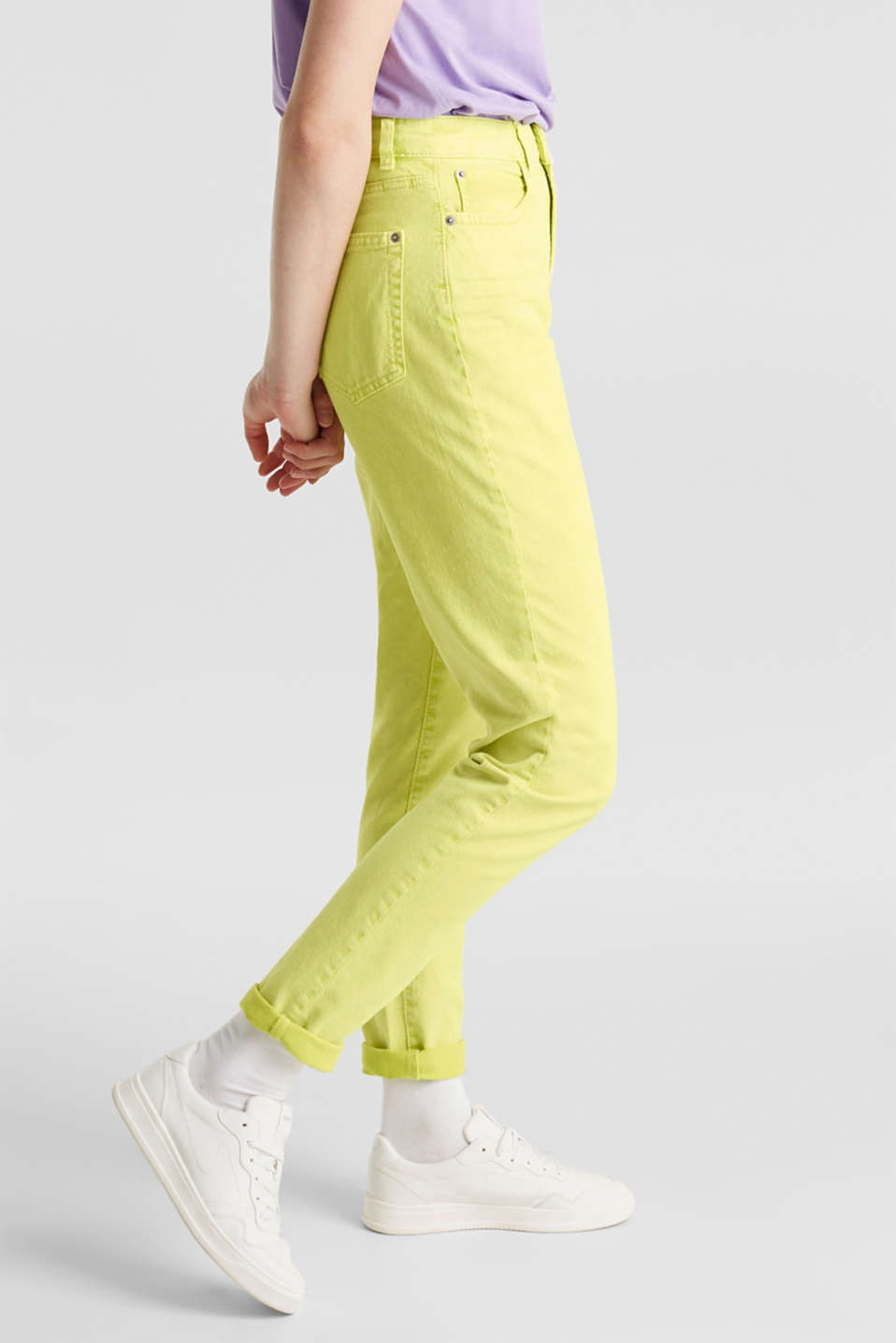High-rise vintage wash trousers, LIME YELLOW, detail image number 6