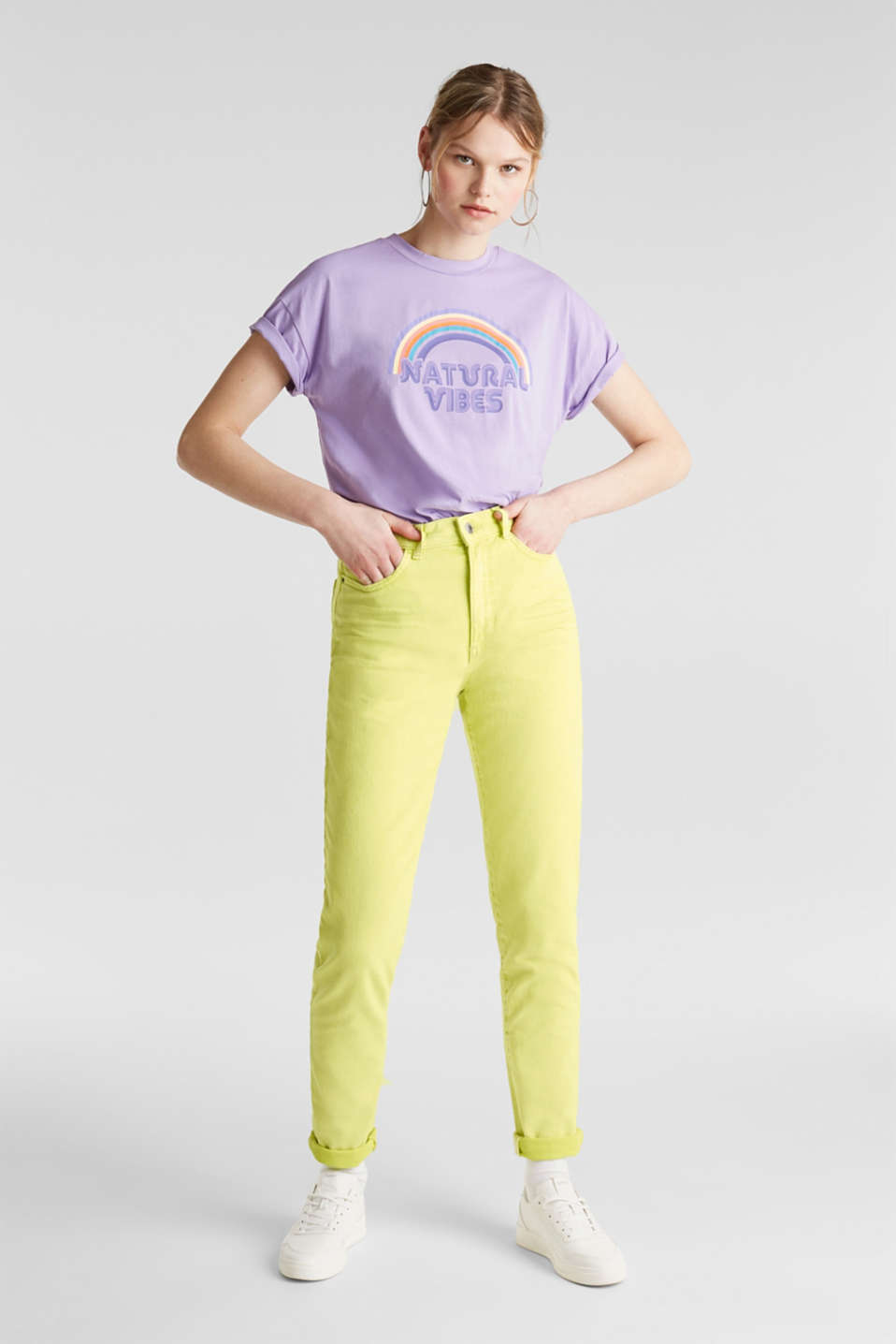 High-rise vintage wash trousers, LIME YELLOW, detail