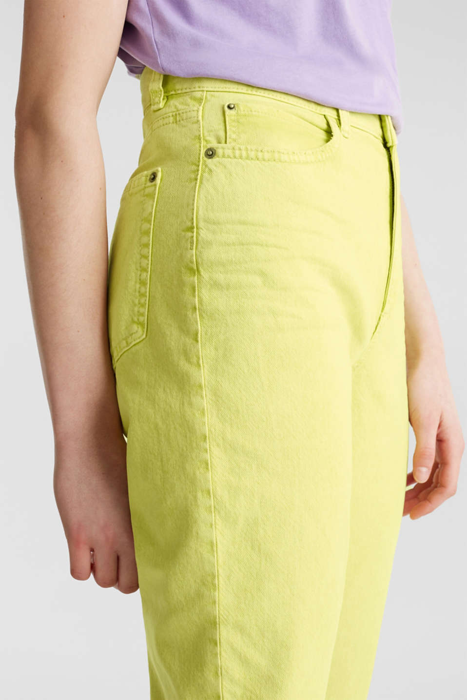High-rise vintage wash trousers, LIME YELLOW, detail image number 2