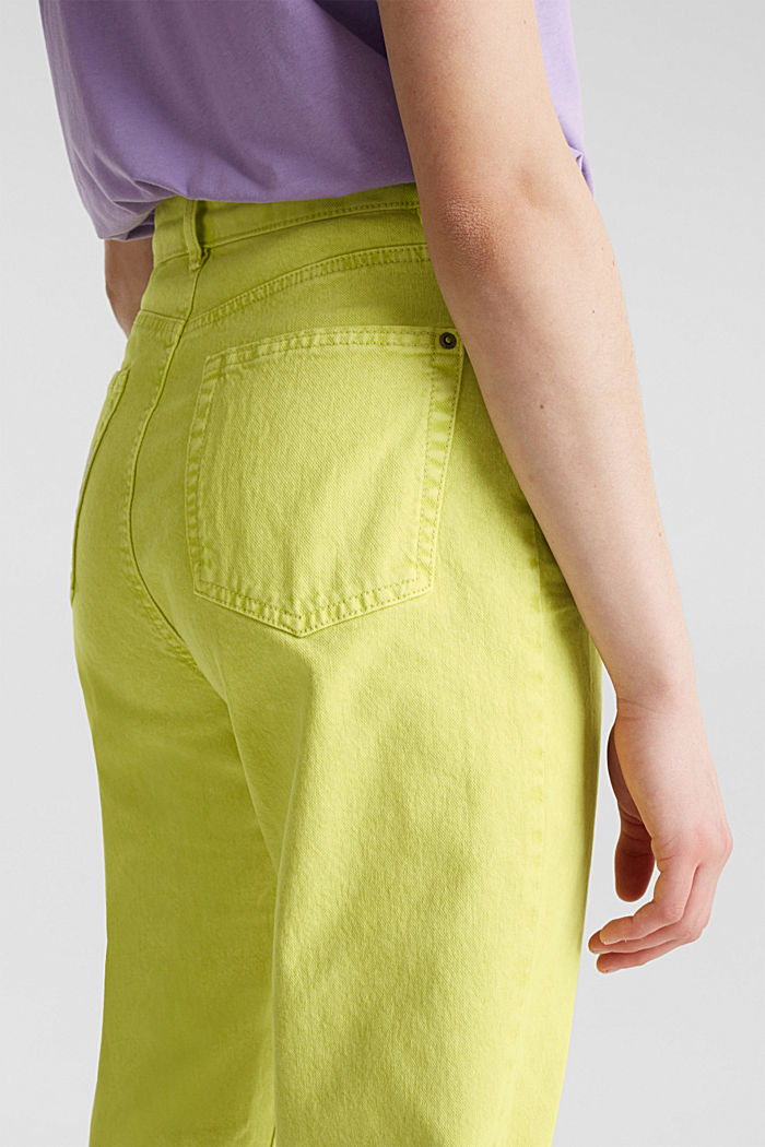 High-rise vintage wash trousers, LIME YELLOW, detail image number 5
