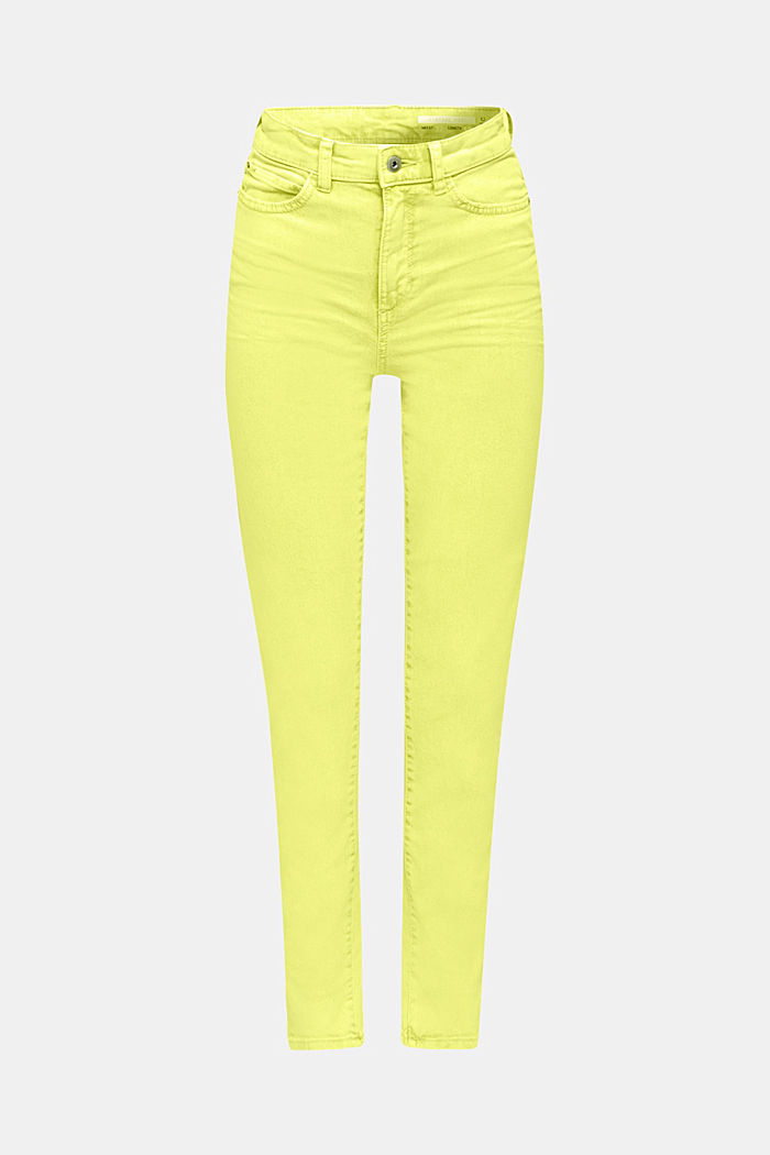 High-rise vintage wash trousers, LIME YELLOW, detail image number 7