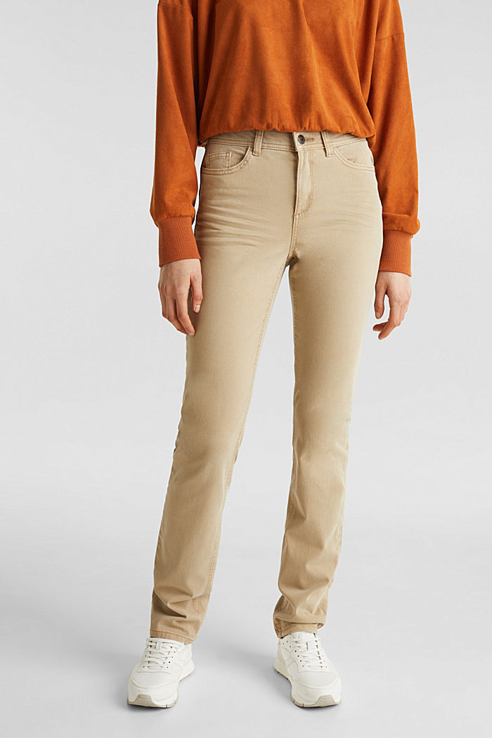 Stretch-Hose im Washed-Look, KHAKI BEIGE, overview