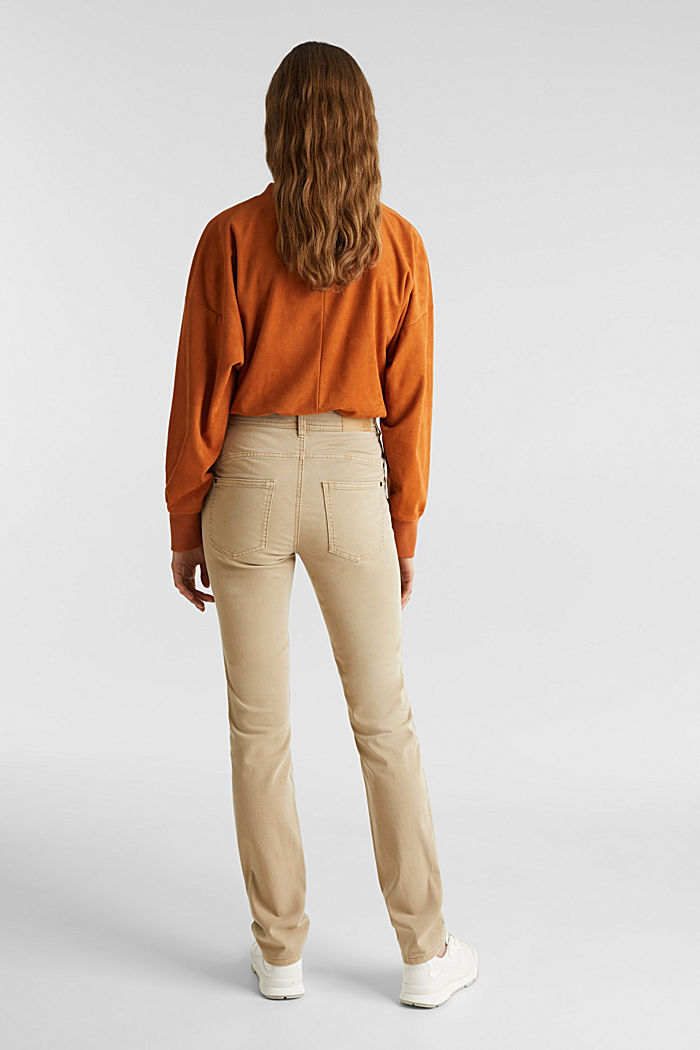 Washed-effect stretch trousers, KHAKI BEIGE, detail image number 2