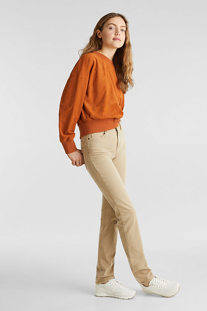 Washed-effect stretch trousers, KHAKI BEIGE, detail image number 1