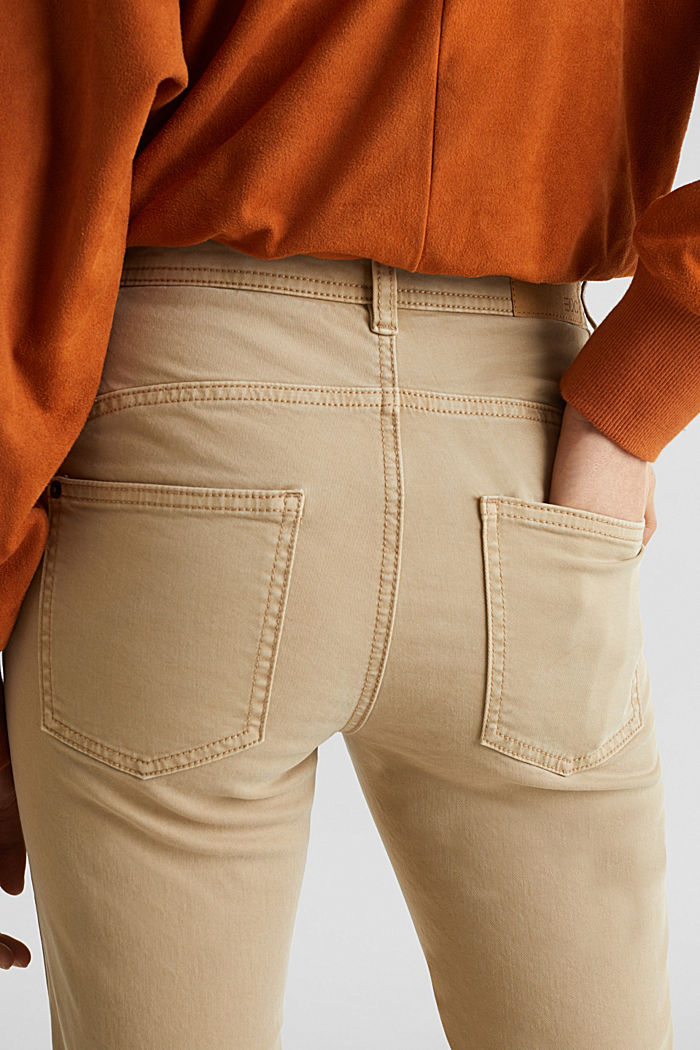 Washed-effect stretch trousers, KHAKI BEIGE, detail image number 4