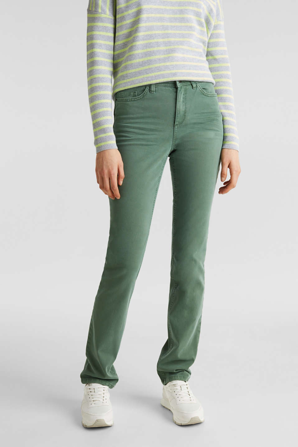 Washed-effect stretch trousers, KHAKI GREEN, detail image number 0