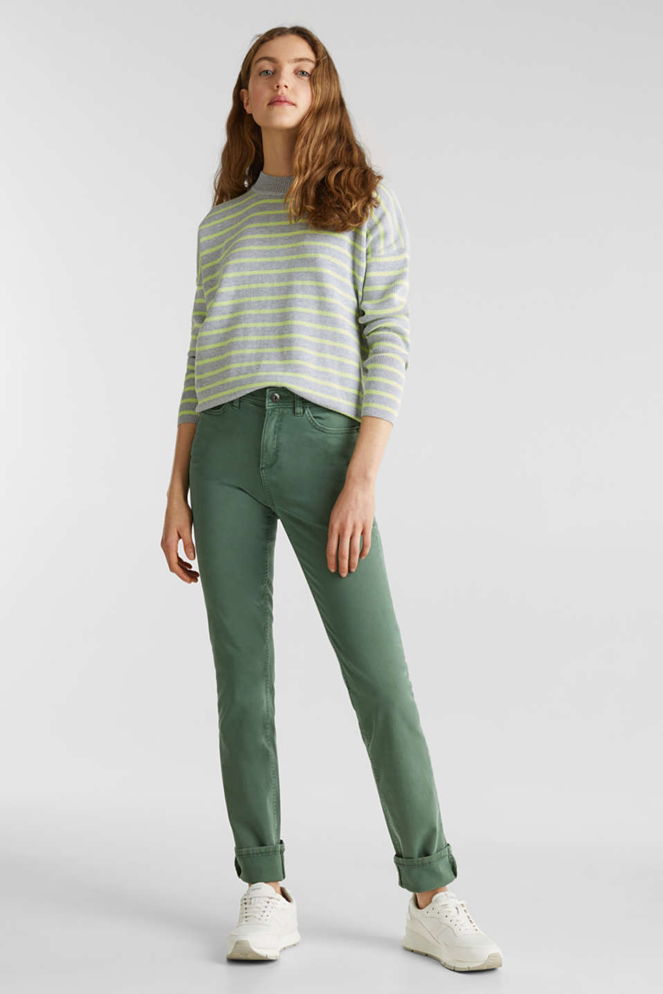 Washed-effect stretch trousers, KHAKI GREEN, detail image number 1