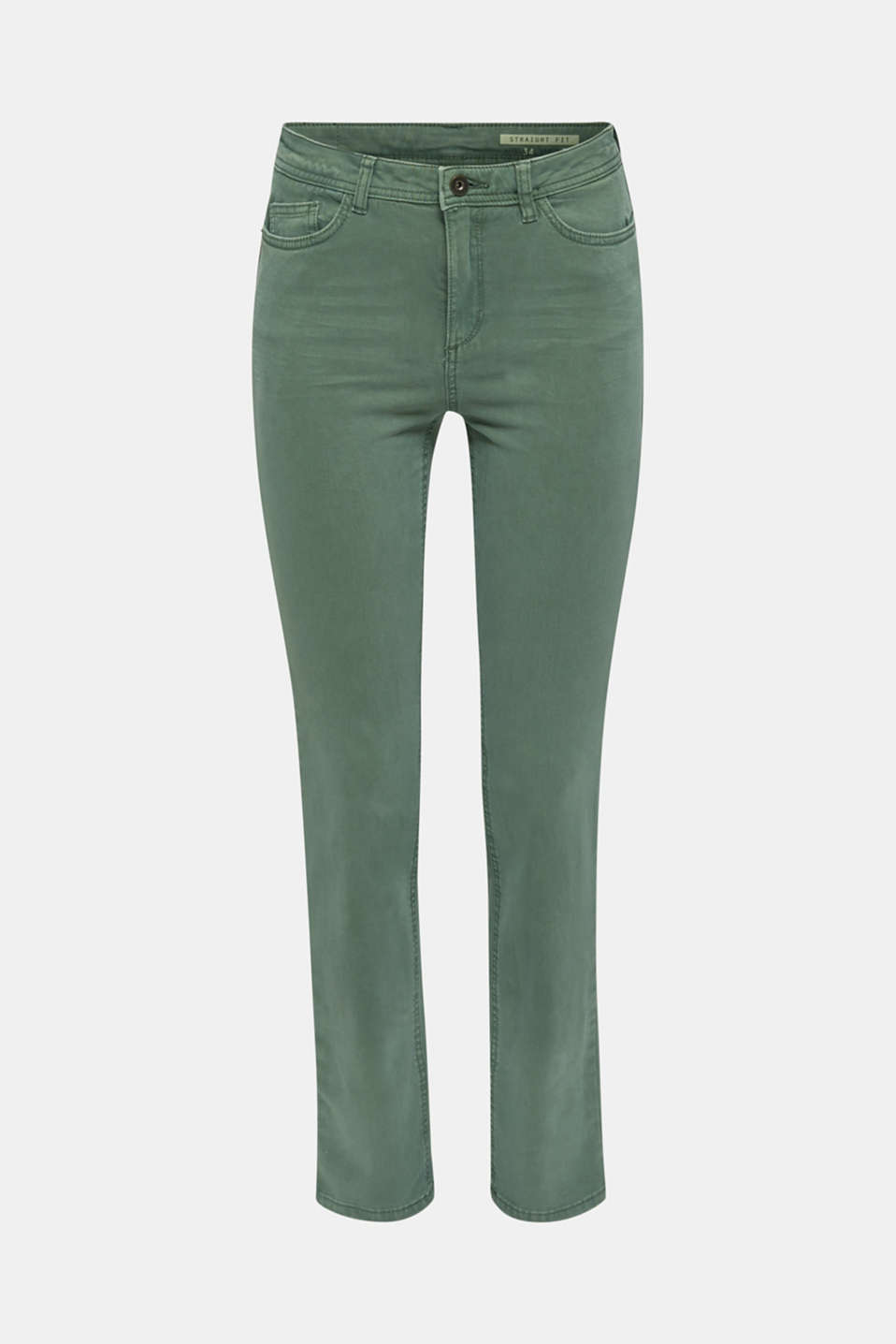 Washed-effect stretch trousers, KHAKI GREEN, detail image number 5