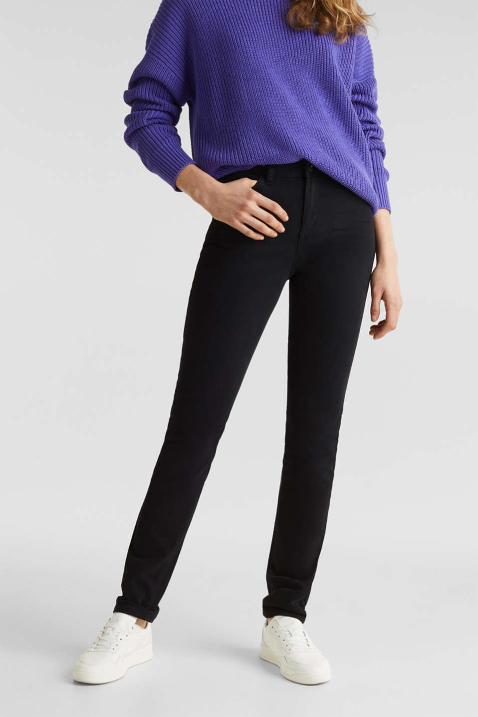 Washed-effect stretch trousers, BLACK, detail image number 0