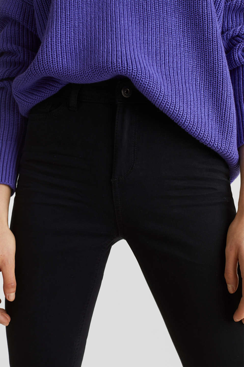 Washed-effect stretch trousers, BLACK, detail image number 2