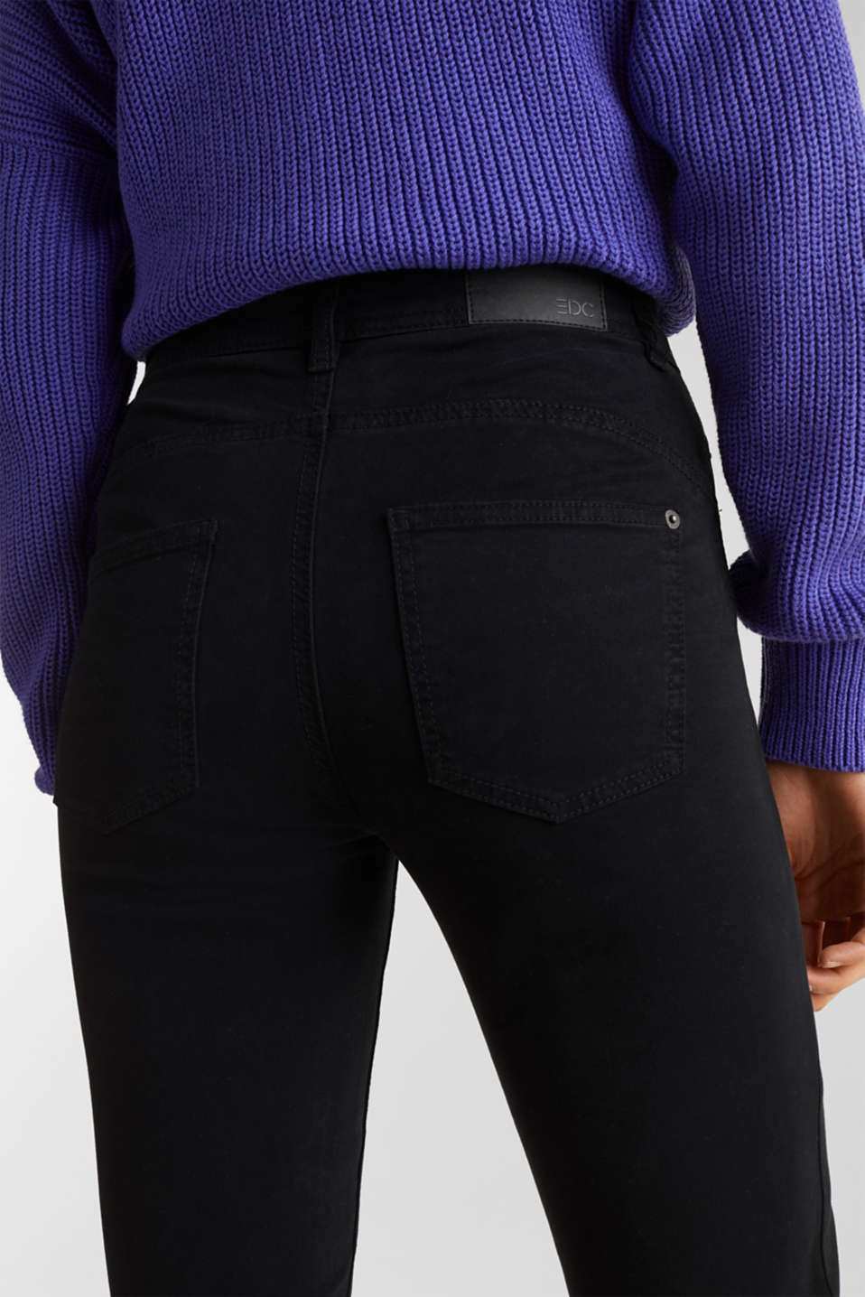 Washed-effect stretch trousers, BLACK, detail image number 5