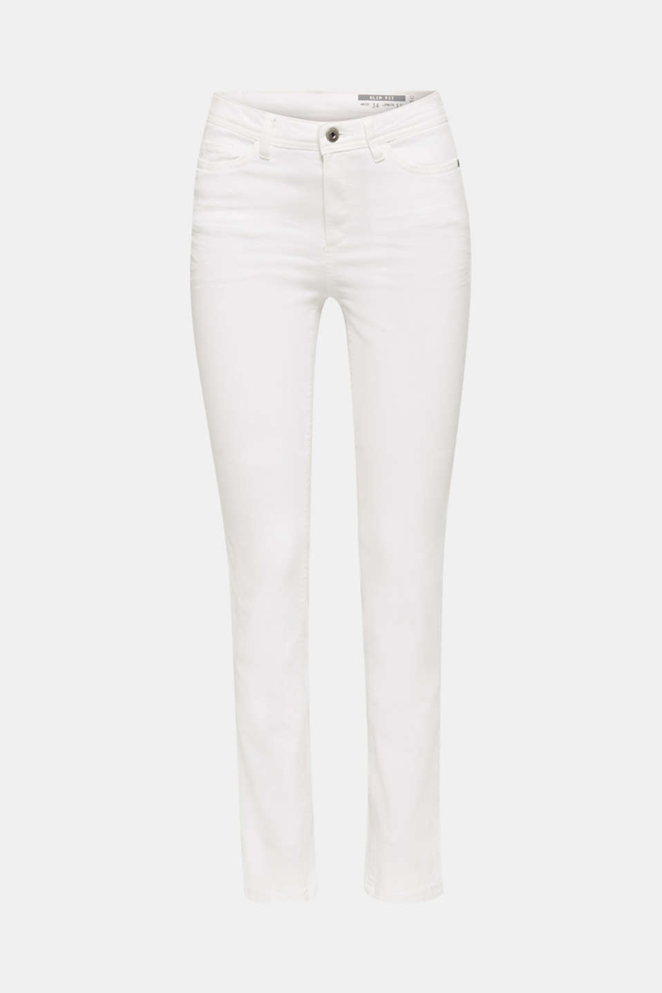 Washed-effect stretch trousers, WHITE, detail image number 7