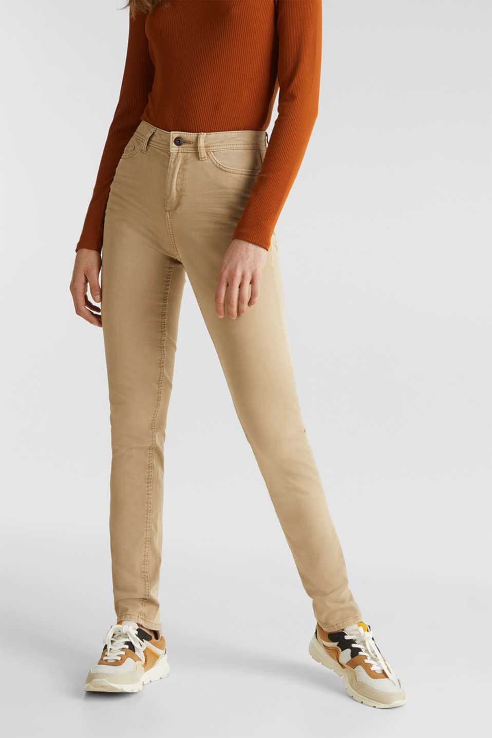 Washed-effect stretch trousers, KHAKI BEIGE, detail image number 0