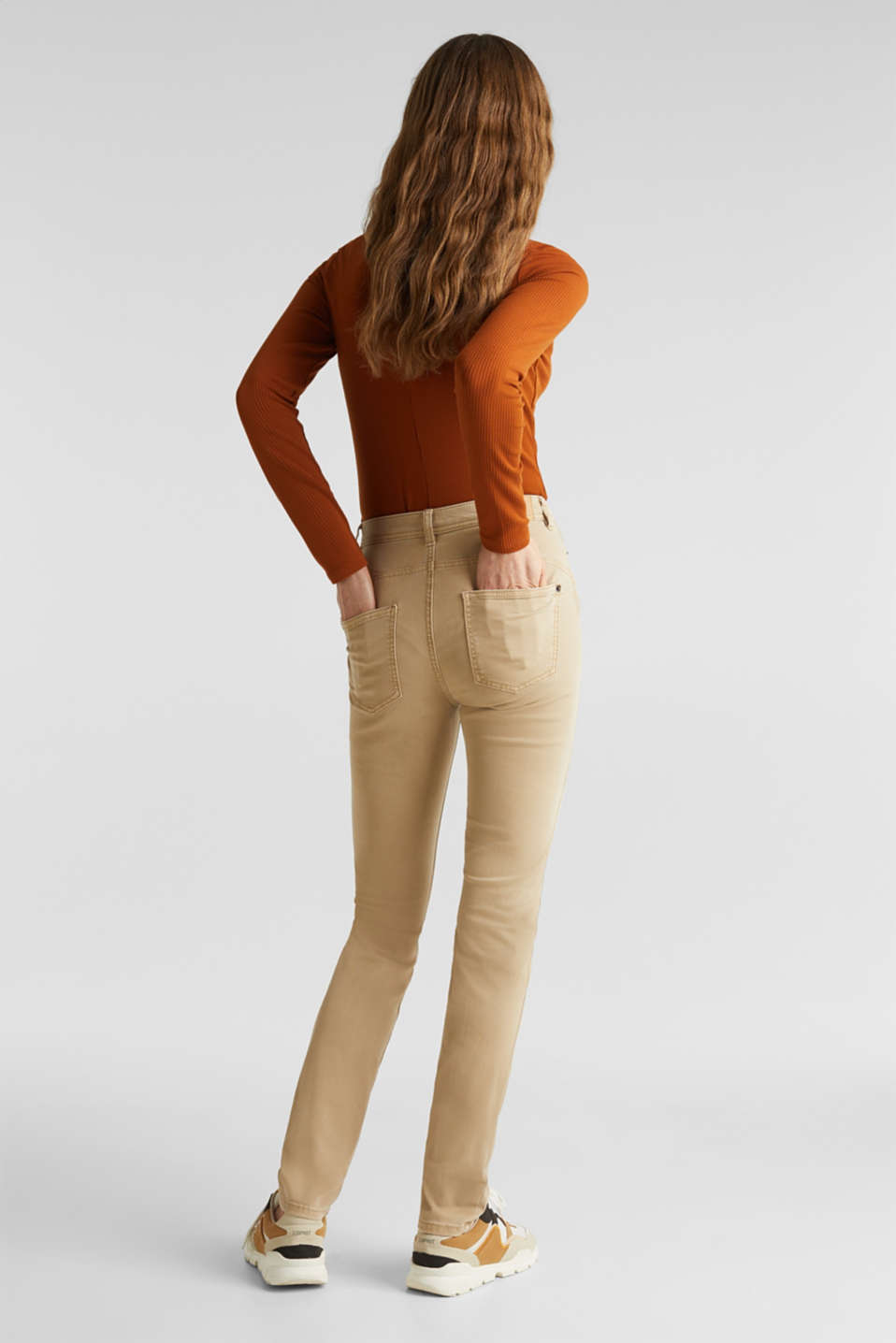 Washed-effect stretch trousers, KHAKI BEIGE, detail image number 3