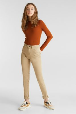 Washed-effect stretch trousers, KHAKI BEIGE, detail