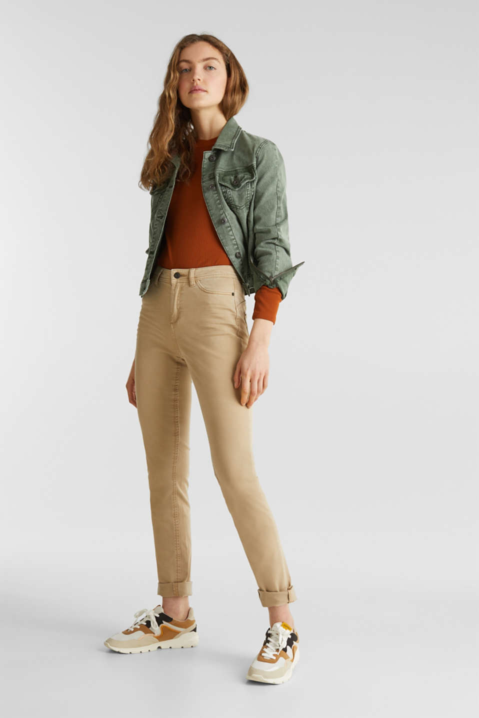 Washed-effect stretch trousers, KHAKI BEIGE, detail image number 7