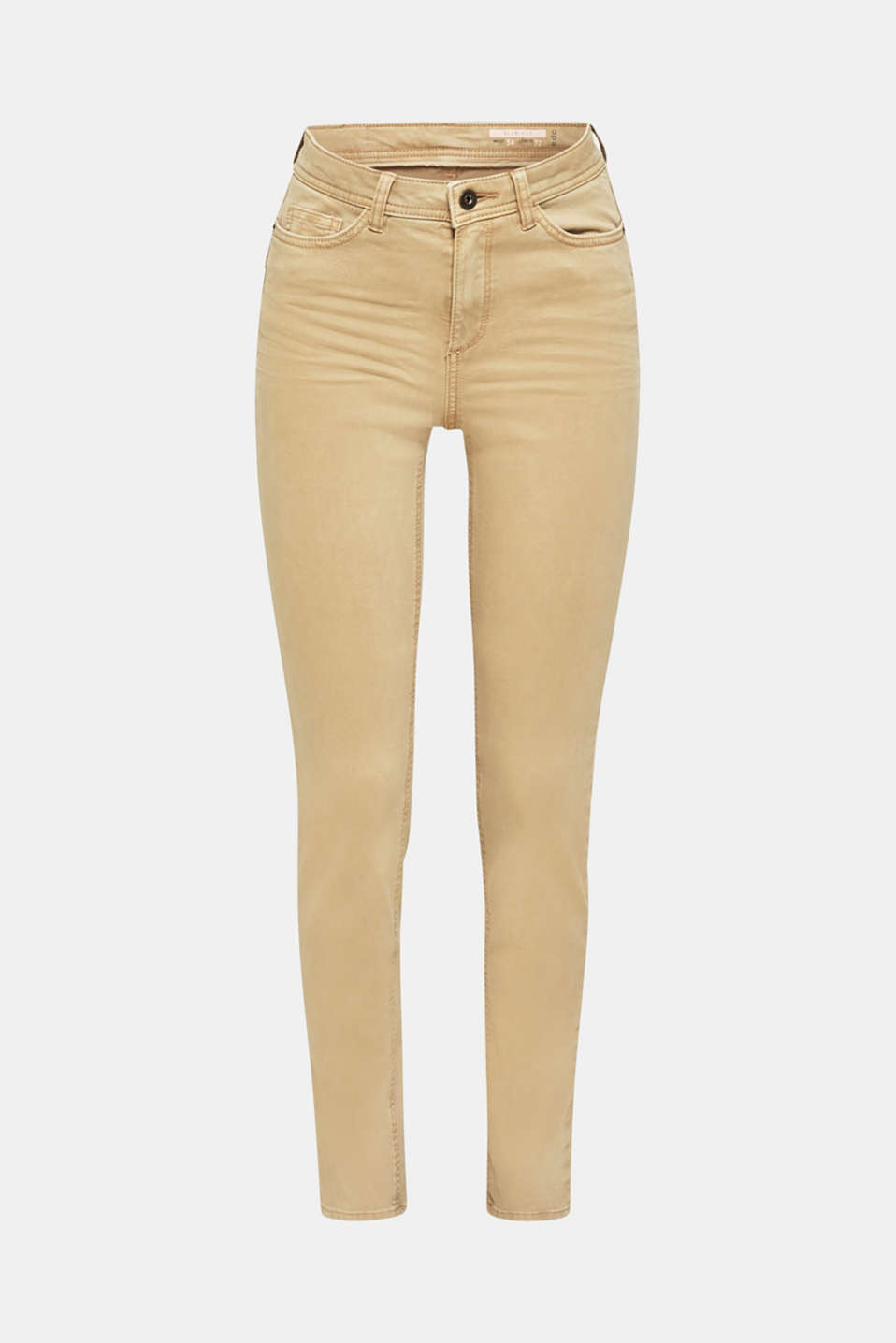 Washed-effect stretch trousers, KHAKI BEIGE, detail image number 8