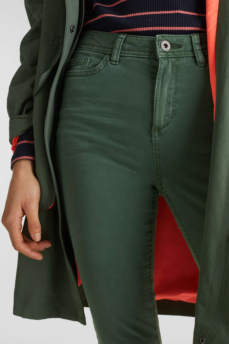 Washed-effect stretch trousers, KHAKI GREEN, detail image number 2