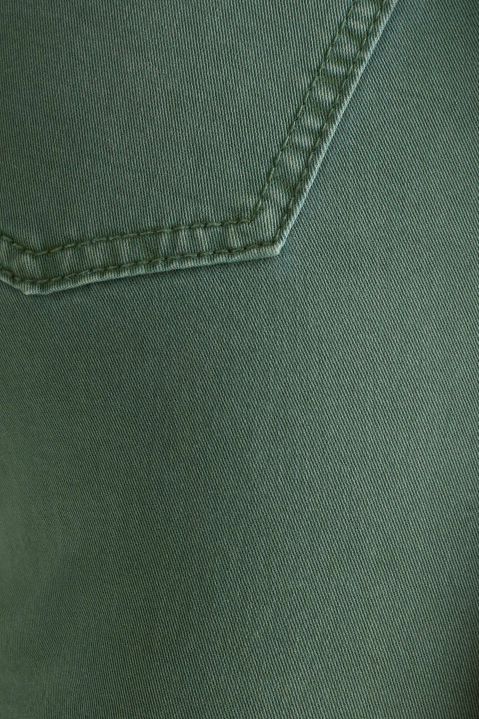 Washed-effect stretch trousers, KHAKI GREEN, detail image number 4