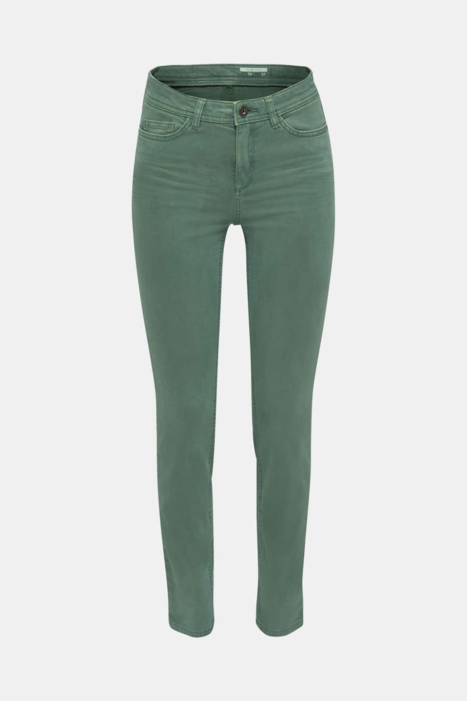 Washed-effect stretch trousers, KHAKI GREEN, detail image number 7